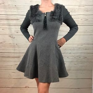 Fur Collar Fleece Fit and Flare Sweater Dress
